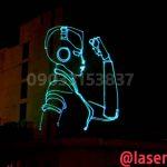 تبلیغات با لیزر متنی و انیمیشن روی ساختمان